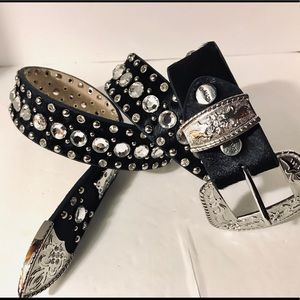 BHW Genuine Studded Crystal Belt, Sz M. New Black.